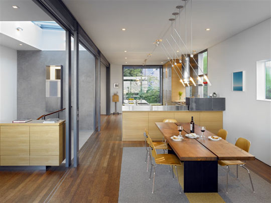 Lines of sight penetrate throughout Zack/de Vito Architecture's Laidley Street house. Photo: Bruce Demonte