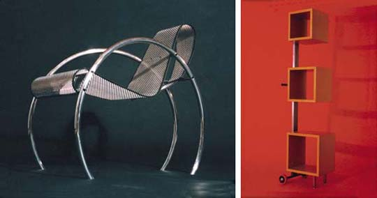 The Hoop Chair and the Cubes rolling shelf are more examples of resourceful invention from Jim Zack.