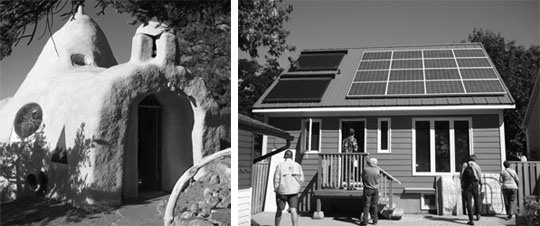A green home doesn't have to look a certain way; it can be organic in shape or it can blend in to any ordinary neighborhood. Right photo shows one of the first Net Zero Energy homes to be commissioned.