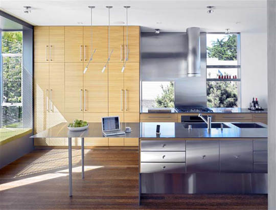 The kitchen of Zack/de Vito Architecture's Laidley Street house is bright and serene. Photo: Bruce Demonte