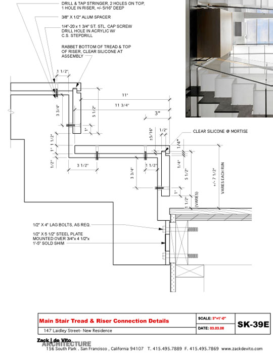 Detail drawing for the stairs from Zack/de Vito Architecture's award-winning Laidley Street project.