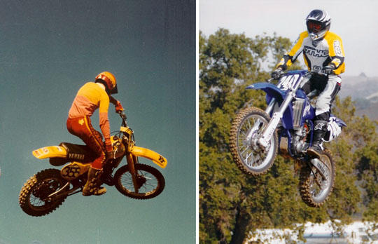 Jim Zack on his bike in 1980 and again in 2002.