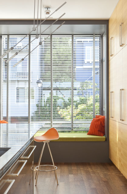 A cozy window seat in the corner of  the kitchen at Zack/de Vito Architecture's Laidley Street house. Photo: Bruce Demonte