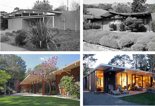 Various examples show how Eichler homes create privacy in the front while opening up towards the rear. House shown on lower left is not an Eichler, but is Mid-Century Modern with similar features, renovated by Klopf Architecture and photographed by Michael O'Callahan.