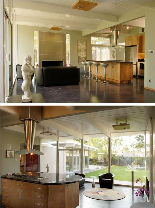 In this Eichler remodel by Klopf Architecture, the kitchen now has a clear view to the outdoors. Photos © Michael O'Callahan