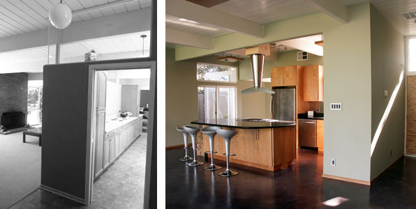 In the home on the left, the original kitchen has been walled off from the main space. In the remodeled home on the right, the kitchen has been opened.