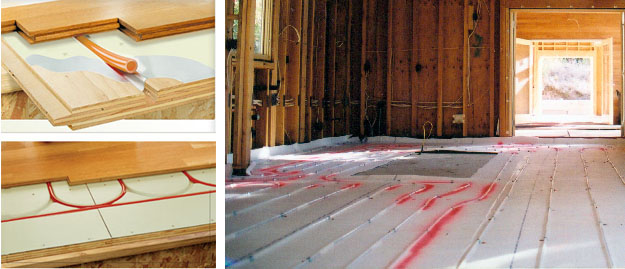 Two approaches to heated floors. Left: The Warmboard radiant heat system installs just like a subfloor. Right: Construction photo showing installation of plastic-pipe radiant system, over which concrete is then poured.