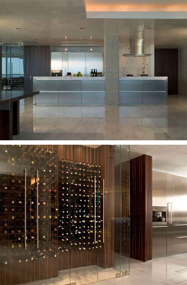 Kitchen and wine room from the Marvisi residence, a private condominium project in Miami, by Sand Studios. Photos: Ken Hayden Photography