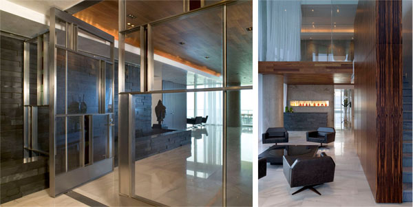 Sand Studios' limited palette has a sensual richness enhanced by a disciplined design aesthetic. Left shows the black slate and custom door at the entry lobby in the Marvisi residence; right shows a view from the interior atrium, with the slate portions visible towards the far end. Photo: Ken Hayden Photography