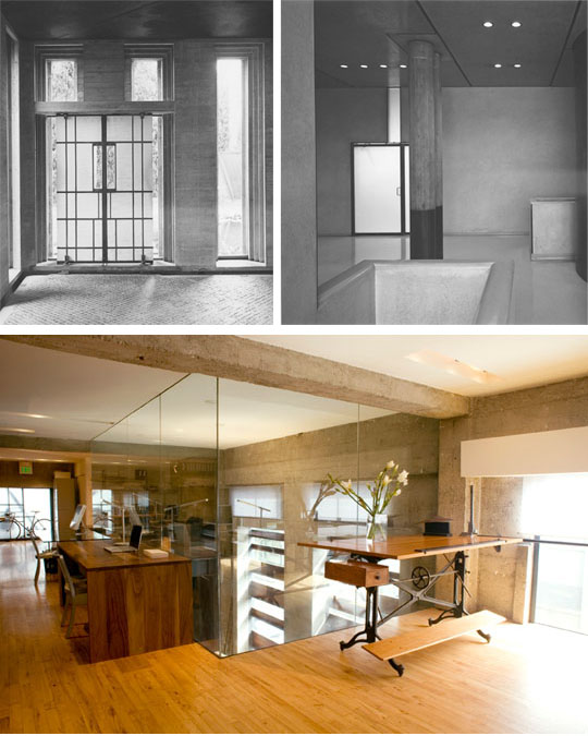 Top: Scarpa's work emphasizes the sculptural lines of the entire structure. Below: Sand Studios' renovation of their own building exposed the concrete shell and original flooring, then contrasted the original materials with smooth expanses of glass, a sculpted white ceiling, custom-made doors, a few well-chosen industrial artifacts, and a very simple but beautifully translucent window shading. The glass box seen towards the rear is a view downstairs into the shop area. Bottom photo: Kenneth Probst Photograph