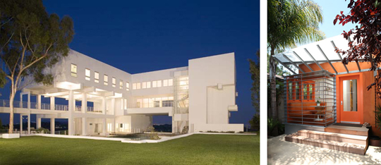 Left show a $20M home in LA designed by Ted Tokio Tanaka Architects for a celebrity golfer. Right shows the Venice residence of architect Steven Shortridge, with a considerably more modest budget and footprint. Photos: Claudio Santini
