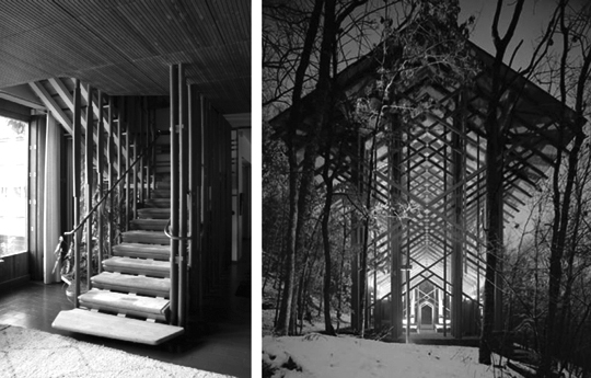 Left, the stairs at Alver Aalto's Villa Mairea are designed to mimic the forests outdoors. On the right, Thorncrown Chapel by E. Fay Jones is another design that mimics the forest, this one in the American Ozarks.