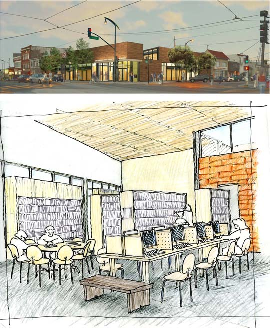 Rendering and sketch for the Bayview Public Library project, a joint effort between Karin Payson and THA.