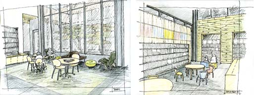 Interior sketches of the teen area (left) and childrens' area (right) for the Bayview Public Library project.