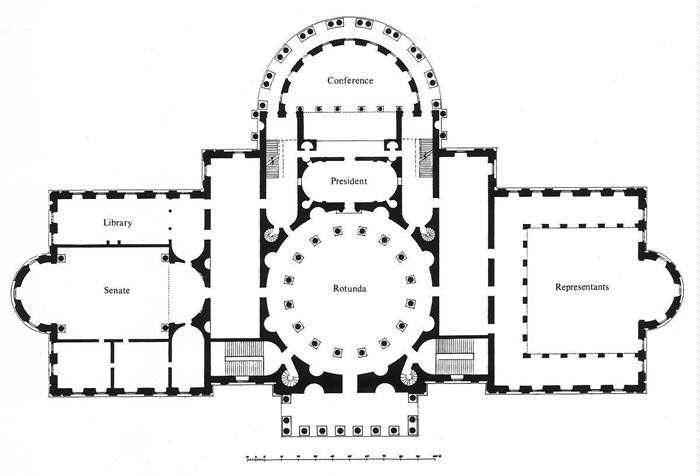 This classical floor plan of the U.S. Capitol building is balanced, mostly symmetrical, and easy to orient within.