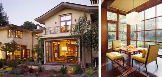 "Exterior and sitting-room views of the ""Garden House With Music"" residence in Atherton designed by Karin Payson."