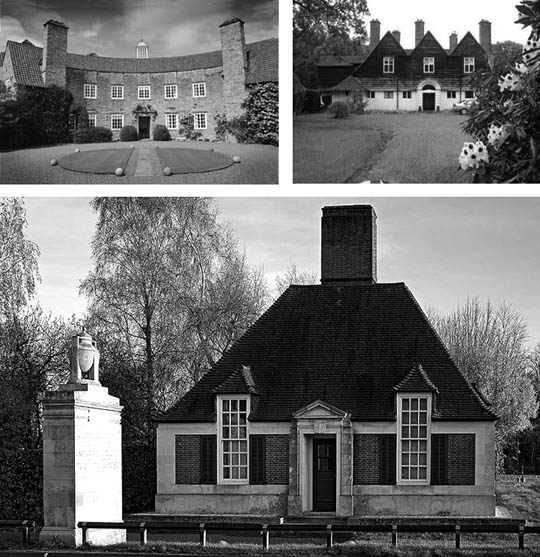 """His work was rooted in its time. But it's… humorous and rigorous, with great proportions,"" says architect Karin Payson of the work of Edwin Lutyens. Lutyens buildings from top left: Greywalls, Homewood, and Lodge Runnymede."