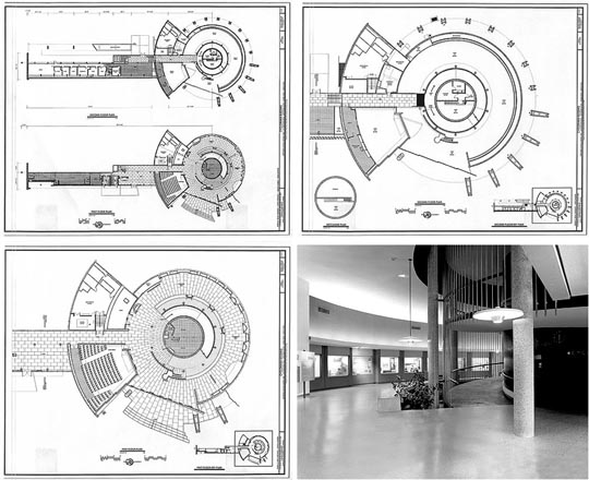 Plans and photo of Cyclorama building by Richard Neutra.