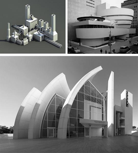 Clockwise from top left, works by John Hedjuk, Charles Gwathmey (the Guggenheim), and Richard Meier.