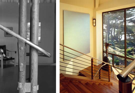 Alvar Aalto's stair detail from Villa Mairea on the left inspired Karin Payson's work for the Carmel residence shown on the right. The straight and tapered lines of the California forest outside are continued through the upsweep of the stair rails, just as Aalto's stair was also designed with the surrounding natural setting in mind.