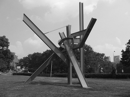 "Olle Lundberg's brother Peter worked for Mark di Suvero for many years. Shown here is di Suvero's work ""Intersection""."