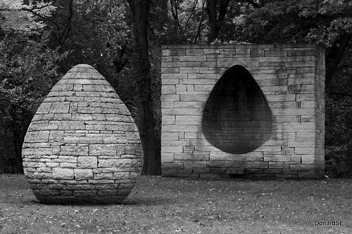 "Olle Lundberg likes Andy Goldsworthy's sculptures, particularly permanent installations such as this work, titled ""Three Cairns"". Also see ""The Wall that Went for a Walk""."