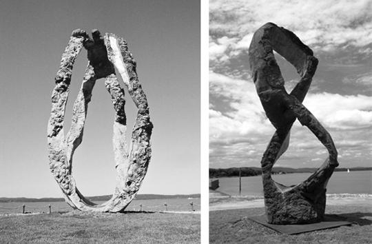 "Olle Lundberg's brother Peter created these sculptures. Left shows ""Dancing With Torsten"" and right shows ""Figure Eight""."