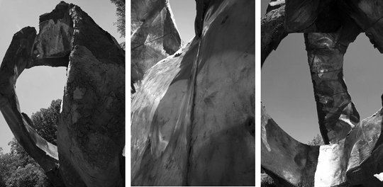 "Three views of sculptor Peter Lundberg's work ""Utlunta""."
