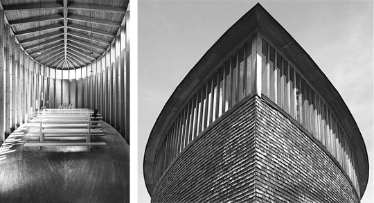 The floating floor in Peter Zumthor's Saint Benedict Chapel enhances the feeling of floatation, of being on a boat. Left photo by Terence Tourangeau (original color photo).