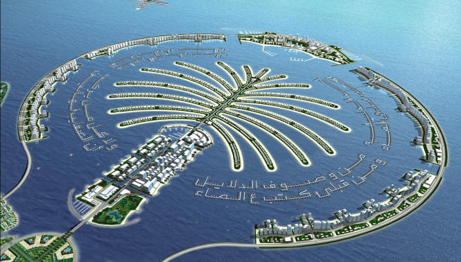 One of the more outrageous designs proposed for Dubai, The Palm, as seen from the air.