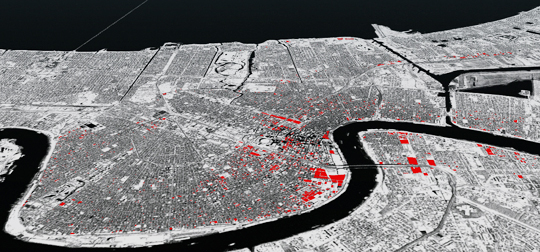 2000 open land parcels above sea level identified in the City of New Orleans