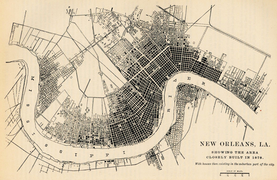 New Orleans settled areas, circa 1878