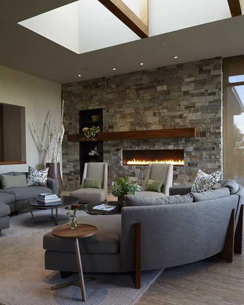 Living Room with Skylight and Fireplace