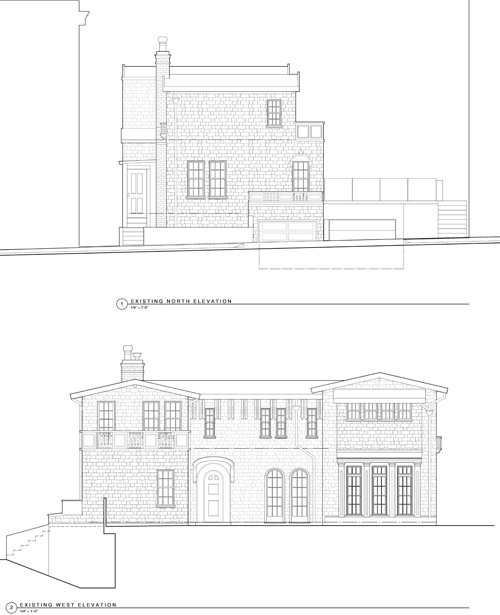 Existing Elevations. North (Top), West (Bottom)