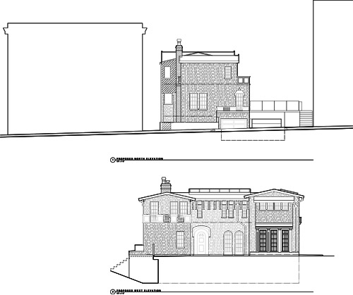 Remodeled Elevations. North (Top), West (Bottom)