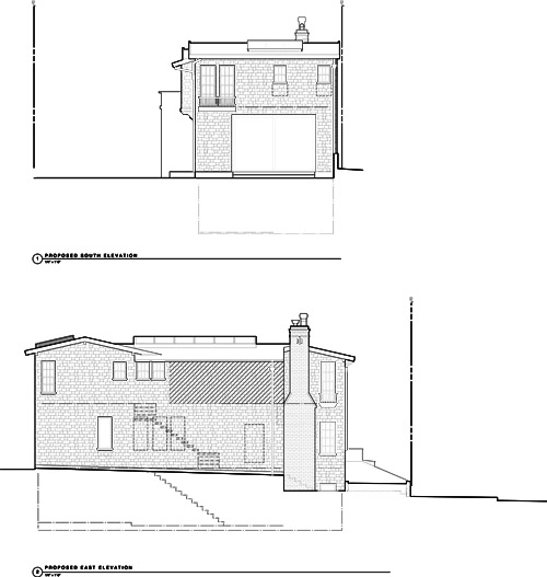 Remodeled Elevations. South (Top), East (Bottom)
