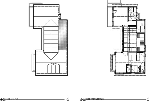 Remodeled Plans. Roof (Left), Upper Floor (Right)