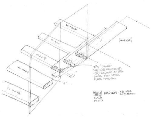 Cantilevered Steel Stair Sketch