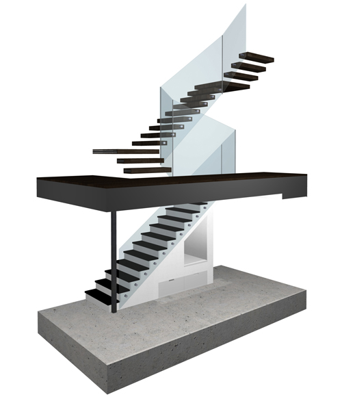 Cantilevered Steel Stair Rendering