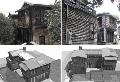 Exterior Views. Top: Existing, Bottom: Renderings