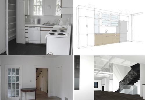 Kitchen Development Collage: Existing, Sketch, Existing, Rendering