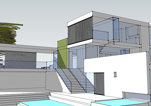 Sketch-Up Model: Rear and Pool Terrace View