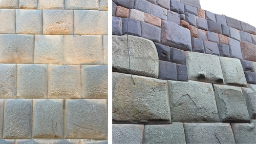 Coursing of Incan stone blocks varied from straight to polygonal. Some walls show a mix of stone. Photos: Mark English Architects