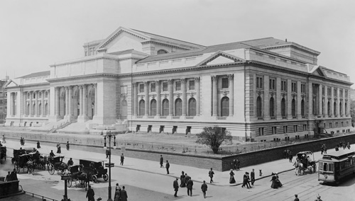 "The New York Public Library as a neoclassical building built at a time when the architects might possibly have had serious hands-on materials experience. Rhodes notes, ""The New York Public Library is one of the first modern stone veneers. Despite appearances, the stonework is not structural."""