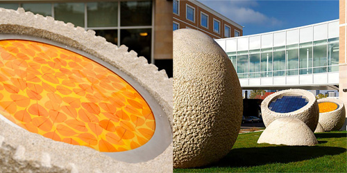 Richard Rhodes hand-fabricated these 35-ton granite eggs for artists Brad and Diana Goldberg. The completed work is installed at the Minneapolis Children's Hospital in Minneapolis, MN. Photo: Richard Rhodes