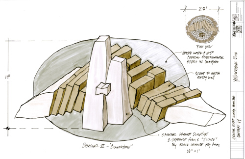 """Sentinel VI - Connection"", an upcoming stone sculpture by Richard Rhodes for the Yellowstone Club in Montana. It will stand 14 feet tall and 28 feet in diameter. Sketch: Richard Rhodes"