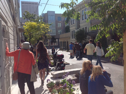 The half-block project of Linden Alley in San Francisco took 4 years to get approved and funded, and only 2 1/2 months to actually construct. Reclaimed granite from demolished curbs became sculptural benches with plantings, for sitting and relaxing. Photo: David Winslow