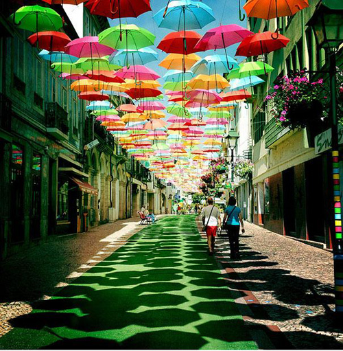 This floating-umbrella passage is in Portugal, but I'm sure we've done these installations in San Francisco as well. Photo: David Winslow