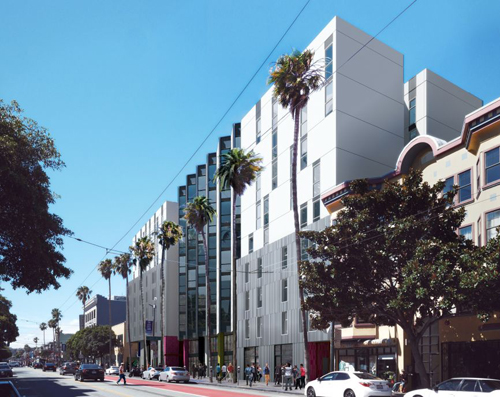 This proposed affordable housing project at 1950 Mission Street, designed by David Baker Architects, is the first 100% affordable housing to be developed in San Francisco's Mission district in a decade. Image: David Baker Architects