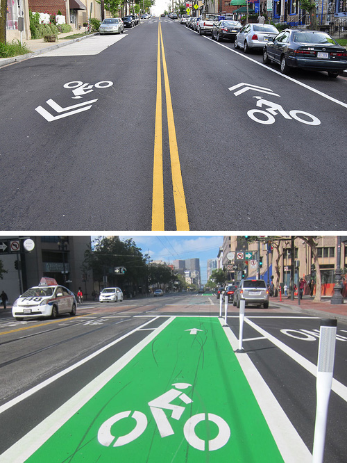 "Shared streets can have markings such as ""Sharrows"" for ""share the road with bikes"". Safer yet are dedicated bike lanes, often color-coded green to make them more visible."